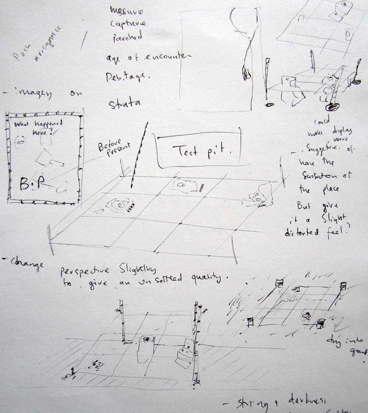Museum of incomplete stories Jen Laracy. sketch of team exhibition